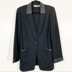 Susan Graver 12 Black Ponte Blazer Faux Leather